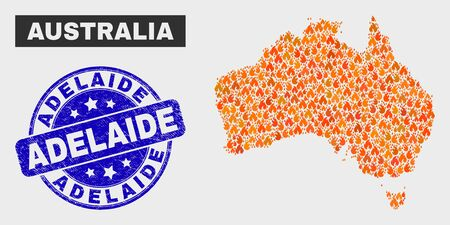 Vector collage of fire Australia map and blue rounded distress Adelaide seal stamp. Fiery Australia map mosaic of fire elements. Vector collage for fire protection services, and Adelaide seal stamp. Illustration