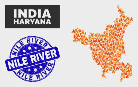 Vector composition of burn Haryana State map and blue rounded distress Nile River seal. Orange Haryana State map mosaic of wildfire icons. Vector composition for emergency services,