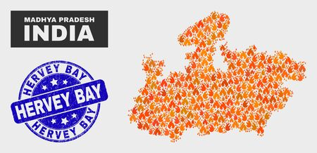 Vector collage of fire Madhya Pradesh State map and blue round distress Hervey Bay seal stamp. Orange Madhya Pradesh State map mosaic of flame icons. Vector collage for fire protection services,