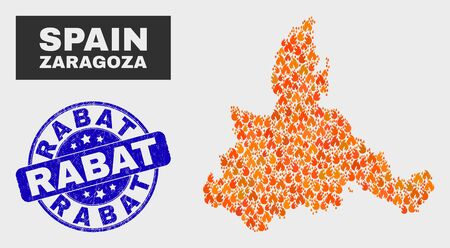 Vector composition of flamed Zaragoza Province map and blue round scratched Rabat stamp. Fiery Zaragoza Province map mosaic of fire icons. Vector collage for fire protection services, Illustration