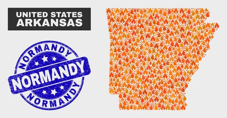 Vector collage of fire Arkansas State map and blue rounded textured Normandy seal stamp. Fiery Arkansas State map mosaic of fire items. Vector collage for insurance services, and Normandy seal stamp. Ilustrace