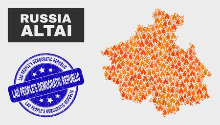 Vector collage of fire Altai Republic map and blue round textured Lao PeopleS Democratic Republic seal stamp. Orange Altai Republic map mosaic of flame elements.