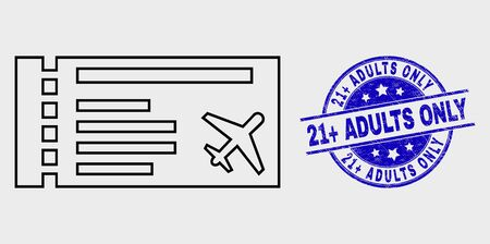 Vector outline airticket icon and 21+ Adults Only watermark. Blue rounded scratched seal with 21+ Adults Only message. Black isolated airticket icon in outline style.