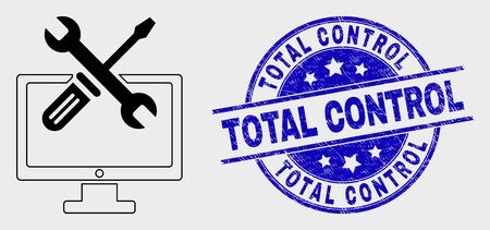 Vector outline desktop options pictogram and Total Control stamp. Blue round textured stamp with Total Control message. Black isolated desktop options pictogram in line style.