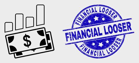 Vector outline financial charts pictogram and Financial Looser seal stamp. Blue rounded scratched seal stamp with Financial Looser message. Black isolated financial charts symbol in outline style.