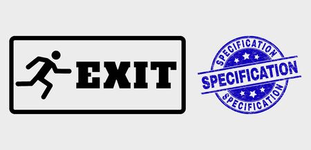 Vector stroke emergency exit pictogram and Specification seal stamp. Blue rounded distress seal stamp with Specification text. Black isolated emergency exit pictogram in contour style.
