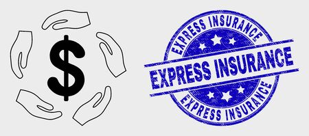 Vector contour dollar care hands pictogram and Express Insurance seal stamp. Blue round grunge seal stamp with Express Insurance caption. Black isolated dollar care hands pictogram in outline style.