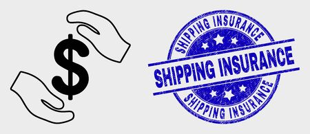 Vector line hands care dollar pictogram and Shipping Insurance seal stamp. Blue round grunge seal with Shipping Insurance message. Black isolated hands care dollar pictogram in contour style. Vectores