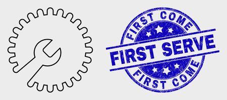 Pittogramma della chiave di riparazione del colpo vettoriale e timbro First Come First Serve. Timbro strutturato rotondo blu con frase First Come First Serve. Pittogramma di chiave di riparazione isolato nero in stile ictus.