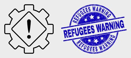 Vector contour gear warning pictogram and Refugees Warning stamp. Blue rounded grunge seal stamp with Refugees Warning title. Black isolated gear warning pictogram in contour style.