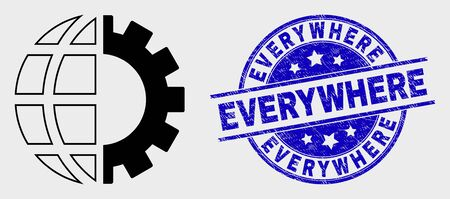 Vector line global industry pictogram and Everywhere seal. Blue round grunge seal stamp with Everywhere caption. Black isolated global industry symbol in line style.