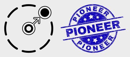 Le contour vectoriel passe au pictogramme de périmètre circulaire et au tampon Pioneer. Timbre de détresse arrondi bleu avec titre Pioneer. Mouvement isolé noir au symbole de périmètre de cercle dans le style de contour.