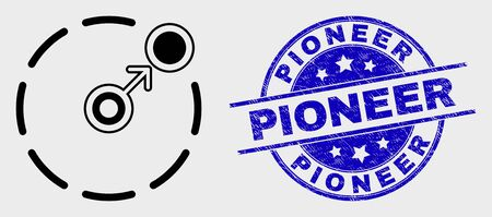 Vector contour move to circle perimeter pictogram and Pioneer stamp. Blue rounded distress stamp with Pioneer title. Black isolated move to circle perimeter symbol in contour style. 版權商用圖片 - 126798545