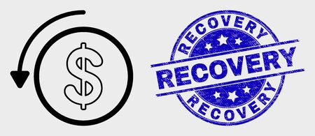 Vector line undo payment pictogram and Recovery seal stamp. Blue round grunge seal stamp with Recovery title. Black isolated undo payment pictogram in contour style. 矢量图片