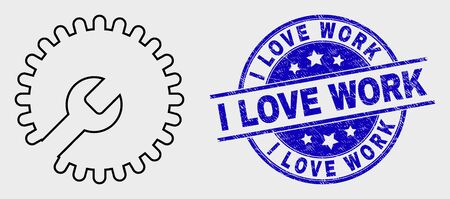 Vector outline settings gear icon and I Love Work seal. Blue round distress stamp with I Love Work phrase. Black isolated settings gear icon in outline style.