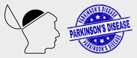 Vector linear open mind icon and ParkinsonS Disease watermark. Blue round scratched watermark with ParkinsonS Disease message. Black isolated open mind icon in outline style.