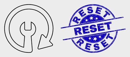 Vector outline update repair wrench icon and Reset seal stamp. Blue round scratched seal stamp with Reset message. Black isolated update repair wrench icon in outline style. Illustration