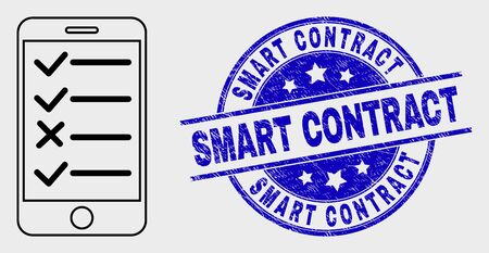 Vector stroke smartphone task list pictogram and Smart Contract seal stamp. Blue round textured seal stamp with Smart Contract message. Black isolated smartphone task list pictogram in line style.