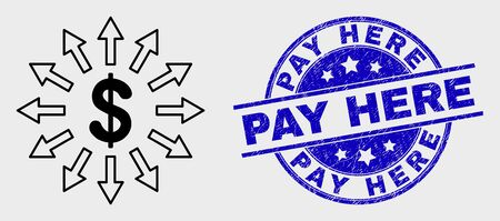 Vector contour dollar emission icon and Pay Here stamp. Blue round textured seal stamp with Pay Here text. Black isolated dollar emission icon in linear style.