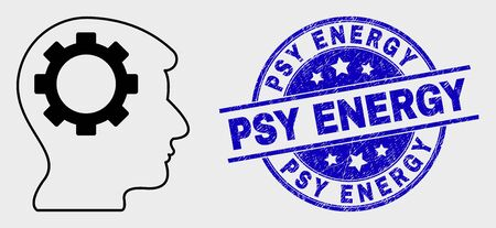 Vector linear gear thinking head icon and Psy Energy seal. Blue rounded grunge seal stamp with Psy Energy title. Black isolated gear thinking head icon in outline style.
