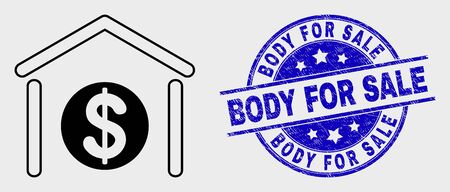 Vector contour dollar garage bank pictogram and Body for Sale seal stamp. Blue round scratched stamp with Body for Sale message. Black isolated dollar garage bank pictogram in contour style.