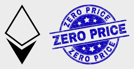 Vector linear crystal icon and Zero Price seal. Blue rounded grunge seal stamp with Zero Price message. Black isolated crystal icon in linear style.