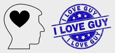 Vector stroke lovely heart man head icon and I Love Guy seal. Blue round distress seal stamp with I Love Guy title. Black isolated lovely heart man head icon in stroke style.