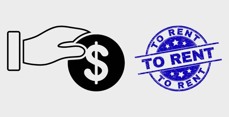 Vector linear coin payment hand icon and To Rent seal stamp. Blue round scratched seal with To Rent caption. Black isolated coin payment hand icon in outline style.