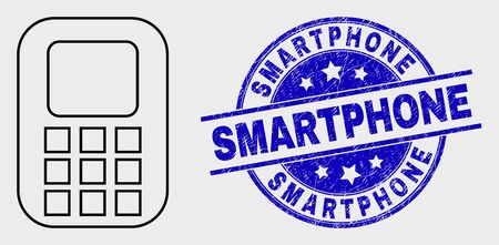 Vector outline cellphone pictogram and Smartphone stamp. Blue round scratched stamp with Smartphone title. Black isolated cellphone symbol in outline style.