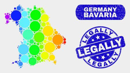 Rainbow colored dot Bavaria Land map and watermarks. Blue rounded Legally scratched seal stamp. Gradient rainbow colored Bavaria Land map mosaic of randomized small spheres. Stockfoto - 126799844