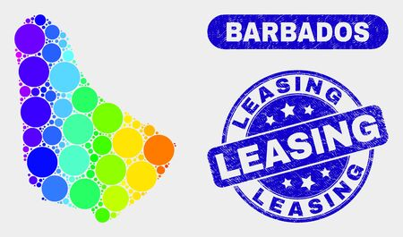 Rainbow colored spotted Barbados map and seal stamps. Blue rounded Leasing grunge seal stamp. Gradiented spectrum Barbados map mosaic of randomized round spots.
