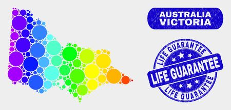 Spectrum spotted Australian Victoria map and seal stamps. Blue rounded Life Guarantee textured stamp. Gradient spectrum Australian Victoria map mosaic of scattered small circles.