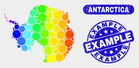Rainbow colored dot Antarctica continent map and stamps. Blue round Example grunge seal. Gradiented rainbow colored Antarctica continent map mosaic of randomized circle elements.  イラスト・ベクター素材