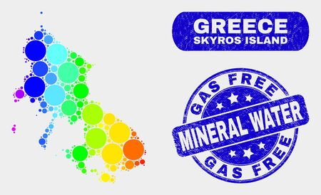 Rainbow colored dotted Skyros Island map and seal stamps. Blue rounded Gas Free Mineral Water textured stamp. Gradient rainbow colored Skyros Island map mosaic of scattered small spheres. Vectores