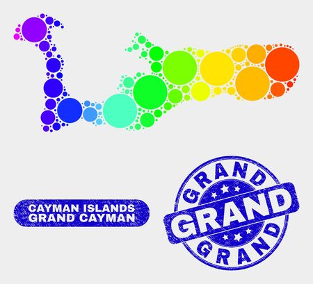 Rainbow colored dot Grand Cayman Island map and seals. Blue rounded Grand distress seal. Gradiented rainbow colored Grand Cayman Island map mosaic of randomized round spots.