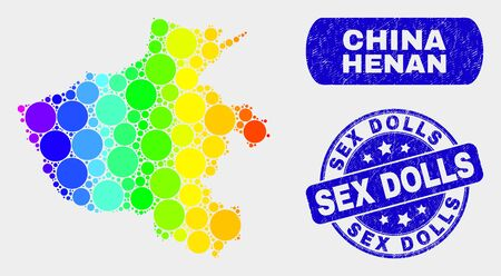 Rainbow colored spotted Henan Province map and stamps. Blue rounded Sex Dolls distress stamp. Gradient rainbow colored Henan Province map mosaic of randomized round dots.