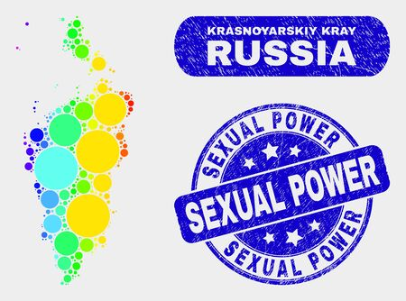 Spectrum dot Krasnoyarskiy Kray map and seals. Blue rounded Sexual Power distress stamp. Gradient spectral Krasnoyarskiy Kray map mosaic of randomized small circles. Vettoriali