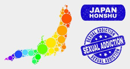 Spectral dot Honshu Island map and seal stamps. Blue rounded Sexual Addiction scratched seal. Gradient spectral Honshu Island map mosaic of randomized round dots.