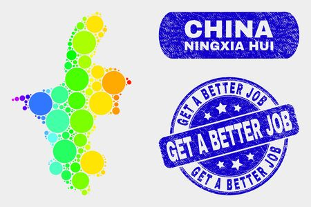 Rainbow colored spotted Ningxia Hui Region map and seals. Blue rounded Get a Better Job textured seal stamp. Gradiented rainbow colored Ningxia Hui Region map mosaic of random round elements.
