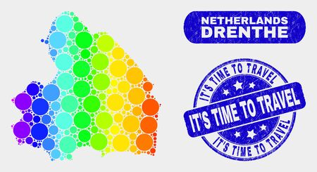 Spectrum dotted Drenthe Province map and seal stamps. Blue round It'S Time to Travel grunge seal stamp. Gradiented spectrum Drenthe Province map mosaic of randomized round spots. 일러스트