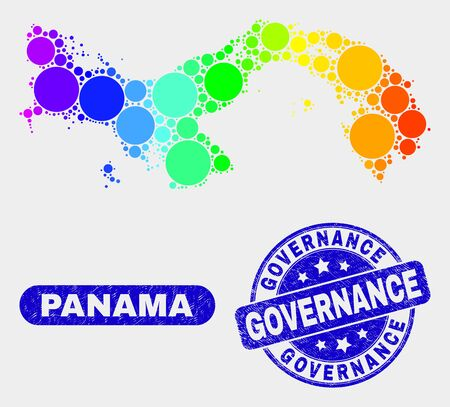 Spectral spotted Panama map and seals. Blue round Governance grunge seal stamp. Gradiented spectral Panama map mosaic of randomized small circles. Governance stamp with grunge surface. Çizim