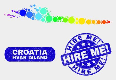 Rainbow colored spotted Hvar Island map and watermarks. Blue round Hire Me! textured seal. Gradiented rainbow colored Hvar Island map mosaic of randomized round dots.