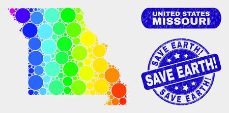 Spectrum dotted Missouri State map and seal stamps. Blue rounded Save Earth! textured stamp. Gradiented spectrum Missouri State map mosaic of scattered small spheres. Ilustração