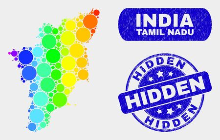 Rainbow colored spotted Tamil Nadu State map and seals. Blue rounded Hidden distress watermark. Gradient rainbow colored Tamil Nadu State map mosaic of randomized circle elements.