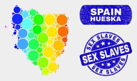 Rainbow colored dot Hueska Province map and watermarks. Blue rounded Sex Slaves distress seal. Gradiented rainbow colored Hueska Province map mosaic of random circle.