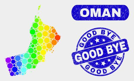 Rainbow colored spotted Oman map and seal stamps. Blue rounded Good Bye scratched seal stamp. Gradient rainbow colored Oman map mosaic of scattered round elements.