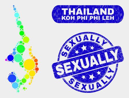 Spectrum dotted Koh Phi Leh map and seal stamps. Blue rounded Sexually distress seal. Gradiented spectrum Koh Phi Leh map mosaic of randomized round dots.