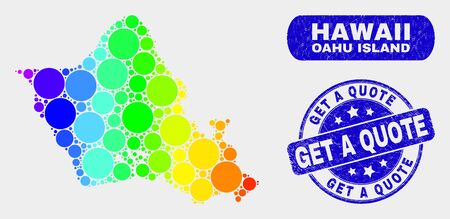 Rainbow colored dotted Oahu Island map and stamps. Blue rounded Get a Quote distress seal. Gradiented rainbow colored Oahu Island map mosaic of scattered round elements.