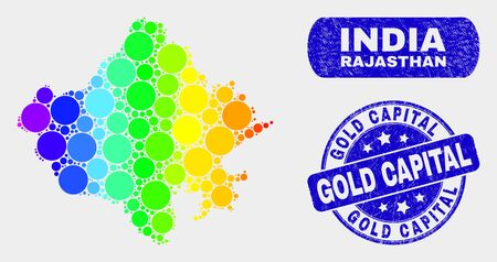 Spectral spotted Rajasthan State map and rubber prints. Blue round Gold Capital textured seal stamp. Gradiented rainbow colored Rajasthan State map mosaic of randomized round dots.