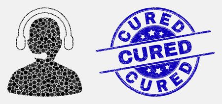 Dotted call center operator mosaic icon and Cured stamp. Blue vector round textured stamp with Cured title. Vector collage in flat style. Black isolated call center operator mosaic of scattered dots,